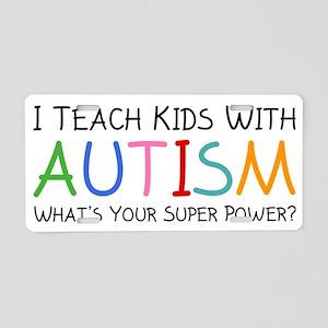 teachKidsAutism1A Aluminum License Plate