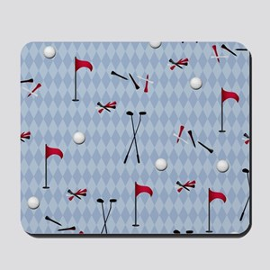 Golf Equipment on Blue Argyle Mousepad