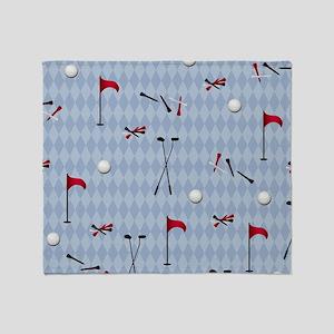 Golf Equipment on Blue Argyle Throw Blanket