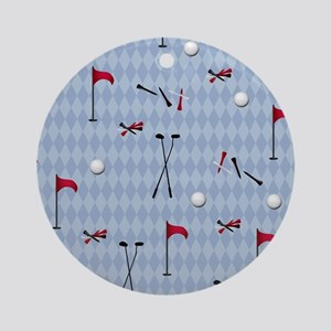Golf Equipment on Blue Argyle Round Ornament