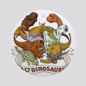 I Heart Dinosaurs Round Ornament