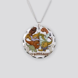 I Heart Dinosaurs Necklace Circle Charm