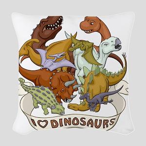 I Heart Dinosaurs Woven Throw Pillow