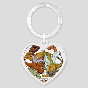 I Heart Dinosaurs Heart Keychain
