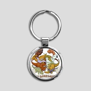 I Heart Dinosaurs Round Keychain