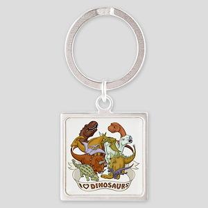I Heart Dinosaurs Square Keychain