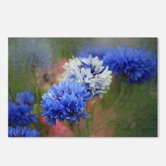 Blue Floral Postcards (Package of 8)