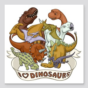 "I Heart Dinosaurs Square Car Magnet 3"" x 3"""