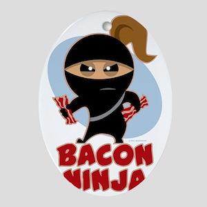 Bacon Ninja Oval Ornament