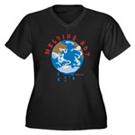 Earth Day ; Melting hot earth Women's Plus Size V-