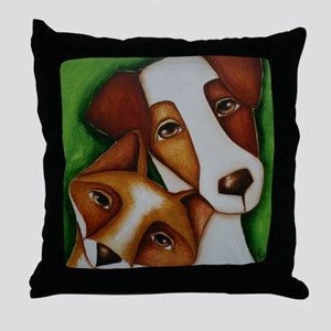 Jack Russell Terrier and Fox Throw Pillow