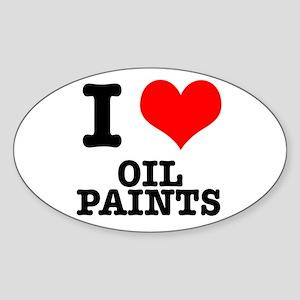 I Heart (Love) Oil Paints Oval Sticker