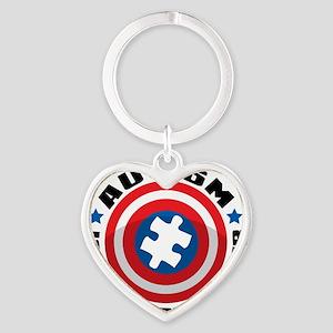 Autism Shield Heart Keychain