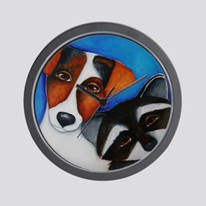 Jack Russell Terrier and Raccoon Wall Clock