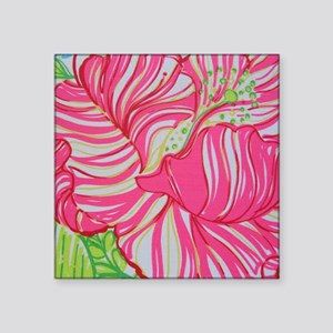 """Pink Hibiscus in Lilly Puli Square Sticker 3"""" x 3"""""""