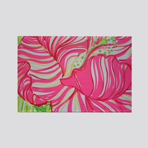 Pink Hibiscus in Lilly Pulitzer S Rectangle Magnet
