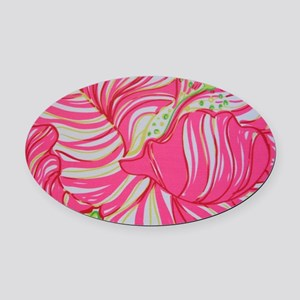 Pink Hibiscus in Lilly Pulitzer St Oval Car Magnet