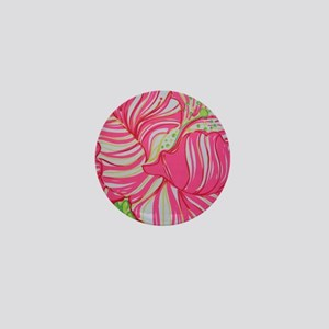 Pink Hibiscus in Lilly Pulitzer Style  Mini Button