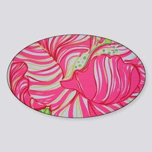 Pink Hibiscus in Lilly Pulitzer Sty Sticker (Oval)