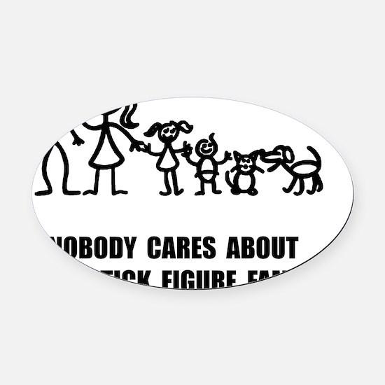 Anti Stick Figure Family Oval Car Magnet