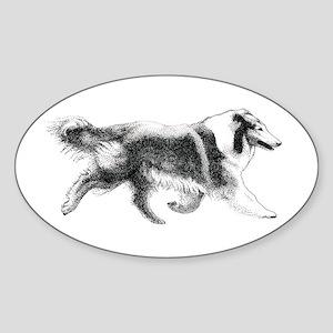 Running Collie Oval Sticker