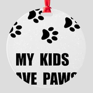 Kids Paws Round Ornament