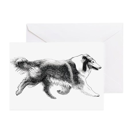 Running Collie Greeting Cards (6)