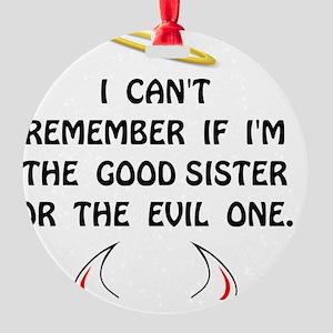 Good Evil Sister Round Ornament