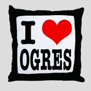 I Heart (Love) Ogres Throw Pillow