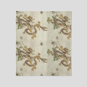 Golden Asian Dragon Throw Blanket