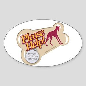 Please Help Greyhounds 2 Oval Sticker