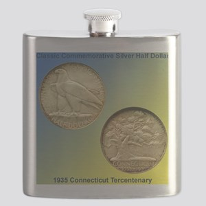 Connecticut Tercentenary Half Dollar Coin  Flask