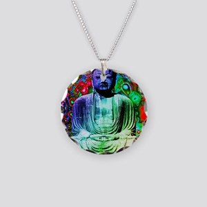 Life Tripping With Buddha Necklace Circle Charm