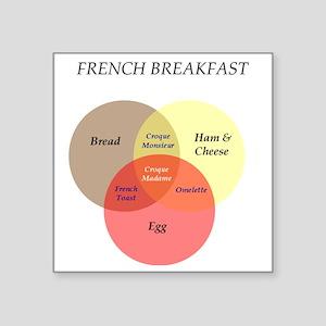 "French Breakfast Venn Diagr Square Sticker 3"" x 3"""