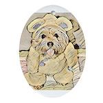 happy little teddy bear Oval Ornament