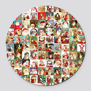 Many Many Santas Round Car Magnet
