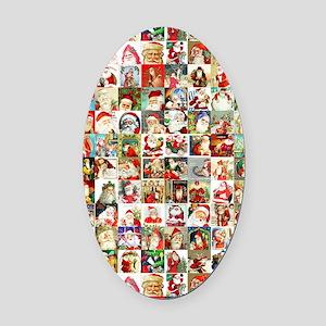 Many Many Santas Oval Car Magnet