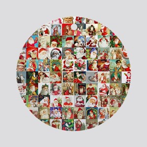 Many Many Santas Round Ornament