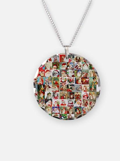 Many Many Santas Necklace Circle Charm