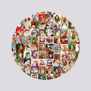 "Many Many Santas 3.5"" Button"