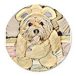 happy little teddy bear Round Car Magnet