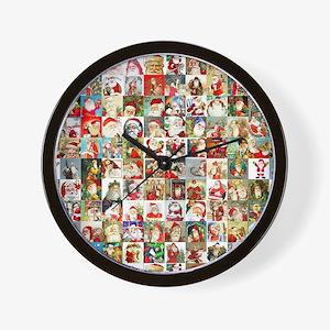 Many Many Santas Wall Clock