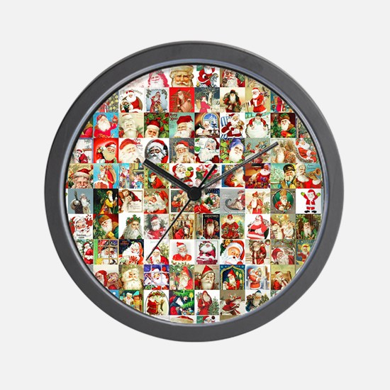 Many Many Santas Wall Clock