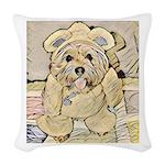 happy little teddy bear Woven Throw Pillow