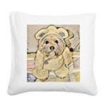 happy little teddy bear Square Canvas Pillow