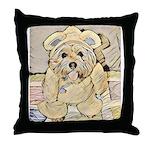 happy little teddy bear Throw Pillow