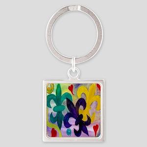 Mardi Gras Fleur de lis Square Keychain