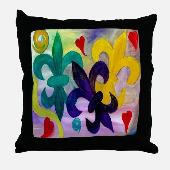 Mardi Gras Fleur de lis Throw Pillow