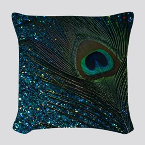 Glittery Aqua Peacock Woven Throw Pillow