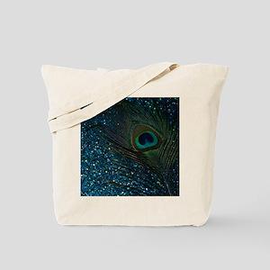Glittery Aqua Peacock Tote Bag